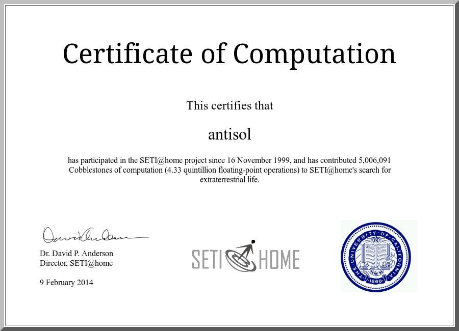Certificate - 5 million units