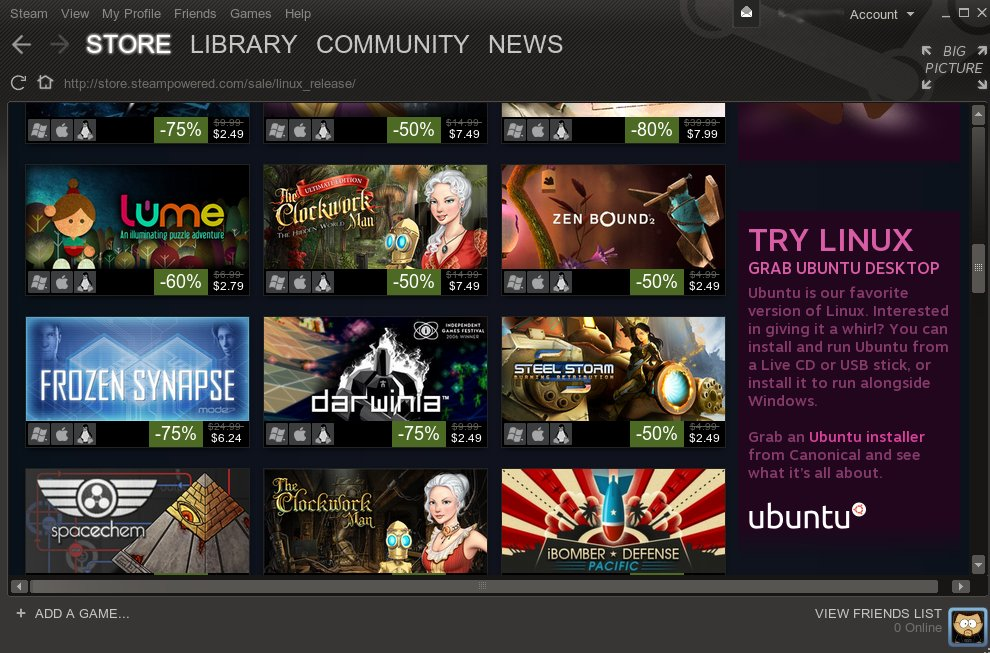 Steam, running on Linux, showing a 'Try Linux' Ad! :O